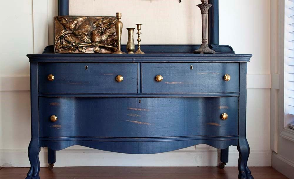 The Most Amazing Of Navy Blue Chalk Paint Furniture Makeover