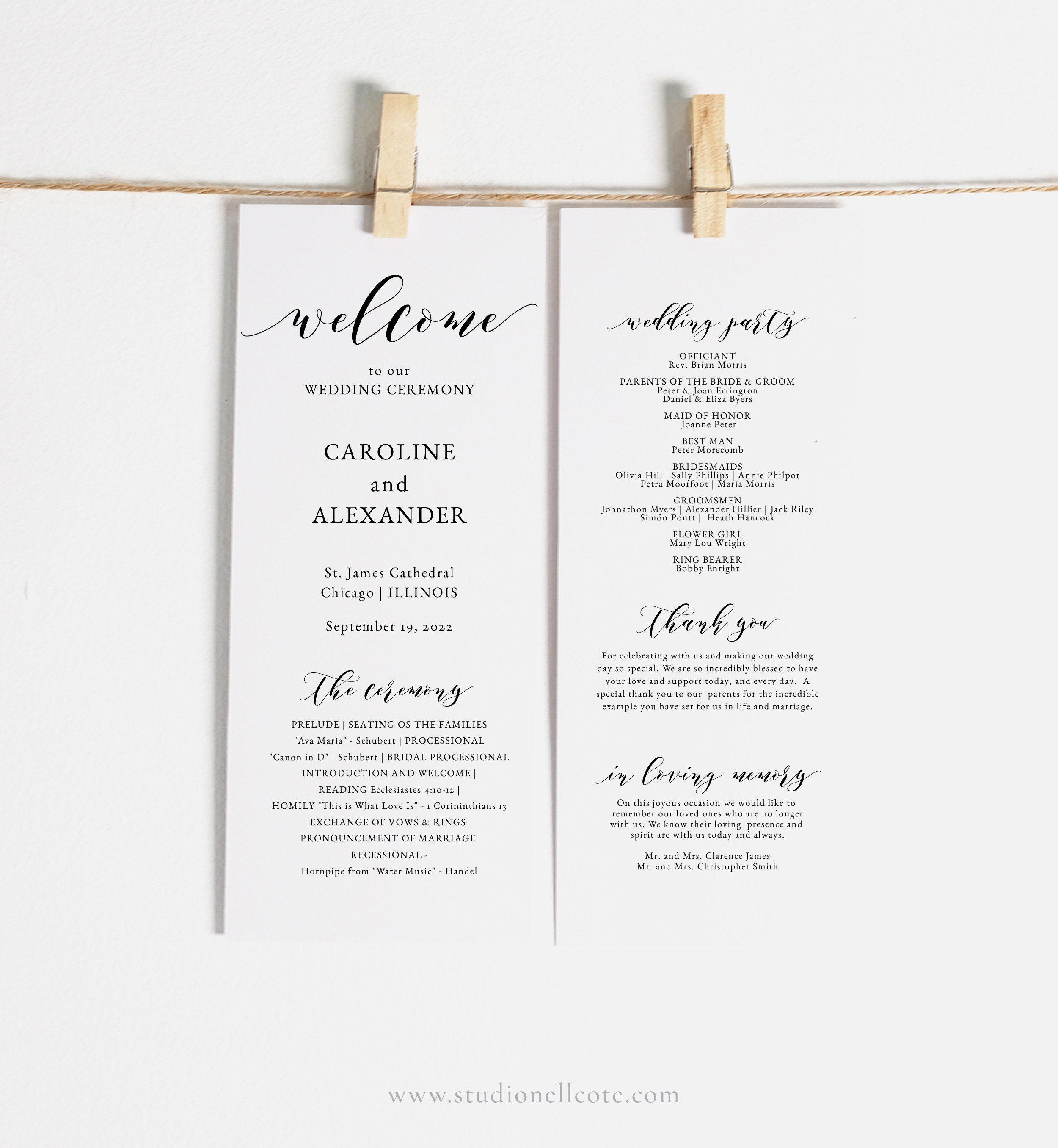 Elegant Wedding Program Template Ceremony Program Diy Program Studio Nellcote Diy Sn029 P In 2020 Wedding Programs Template Wedding Programs Elegant Wedding Programs