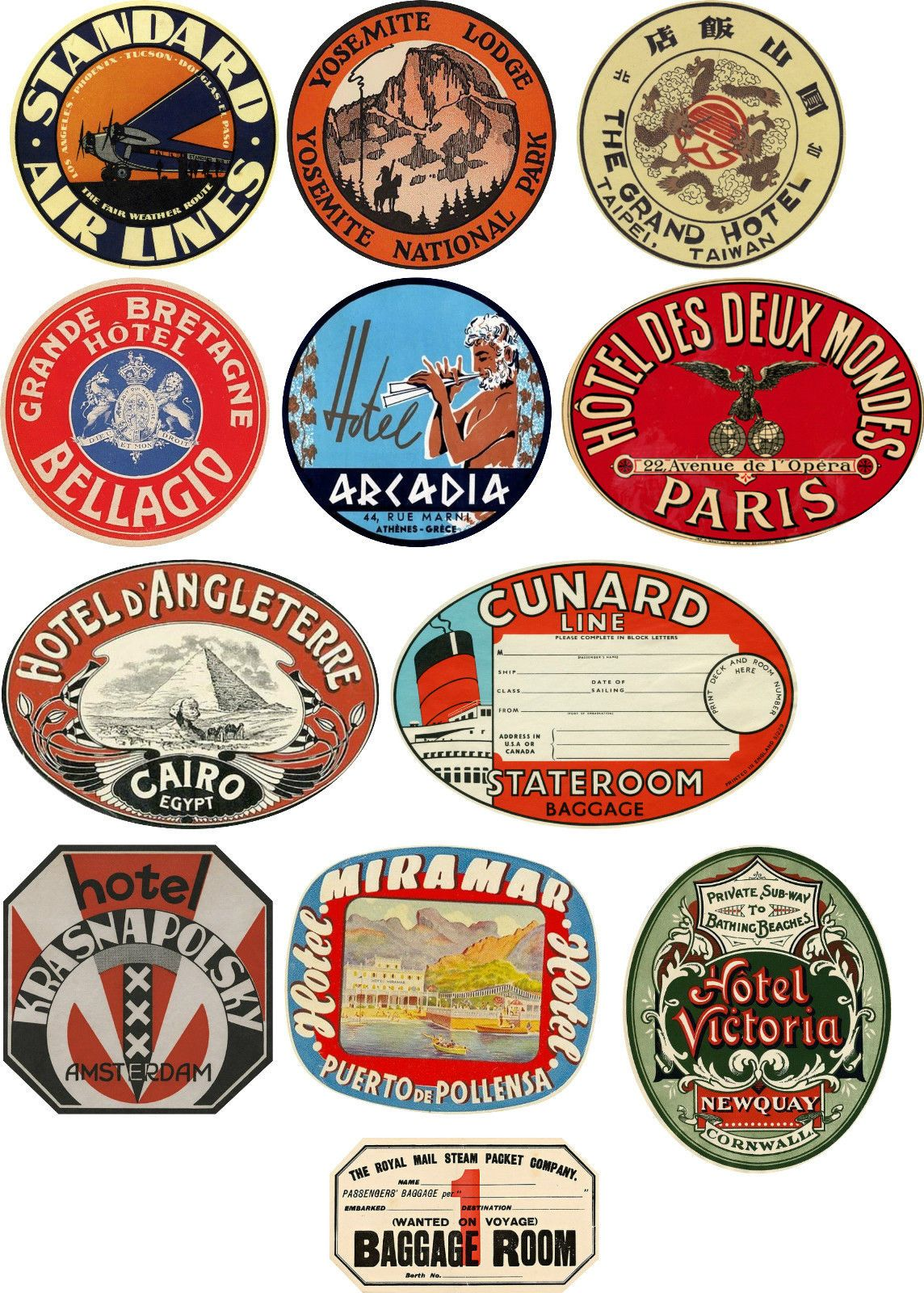 Vintage Style Travel Suitcase Luggage Labels Set Of 12 Vinyl Stickers Ebay Luggage Labels Luggage Stickers Suitcase Stickers
