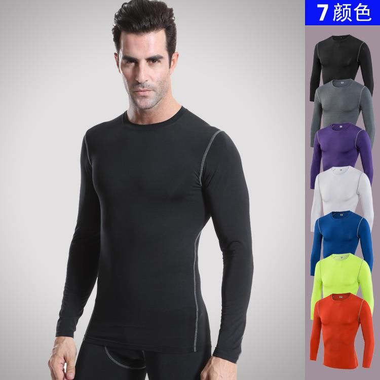 8110057ba Fitness Compression Shirt Mens Gyms T-shirts Bodybuilding Clothing Male  Quick Drying Long Sleeve tshirt