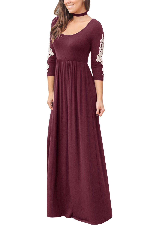 Women Maternity Clothes Inorin Womens Casual Maxi Dress Lace Decor 3 4 Sleeve Loose Plain Long Dres Maxi Dress Clothes For Pregnant Women Maxi Dresses Casual [ 1500 x 1000 Pixel ]