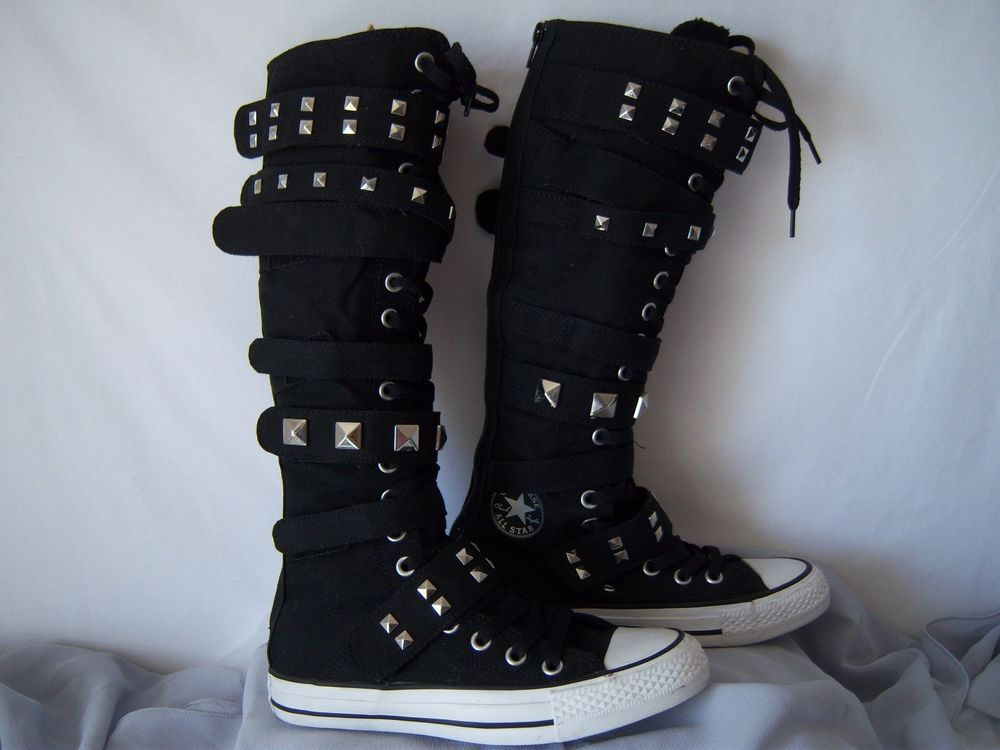Chuck Taylor Converse All Star Black Velcro Knee High