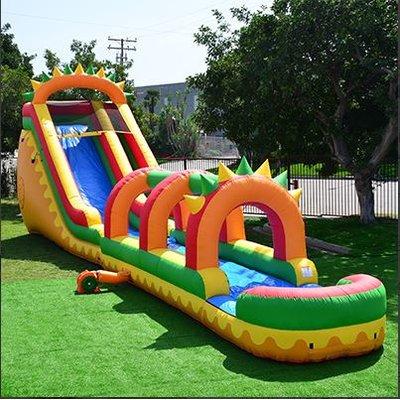 Jumporange Dino 8 X 28 Inflatable With Air Blower Wayfair Water Slide Bounce House Backyard Toys Backyard Toys For Kids
