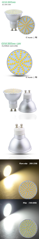 SMD2835 GU10 3W 5W 7W LED Spot Light Dimmable AC120V 100V 110V LED ...
