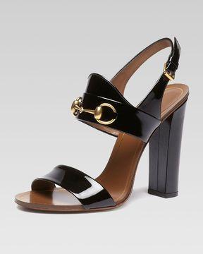 2fab1f0e140 ShopStyle  Gucci Patent Leather Horsebit Sandal