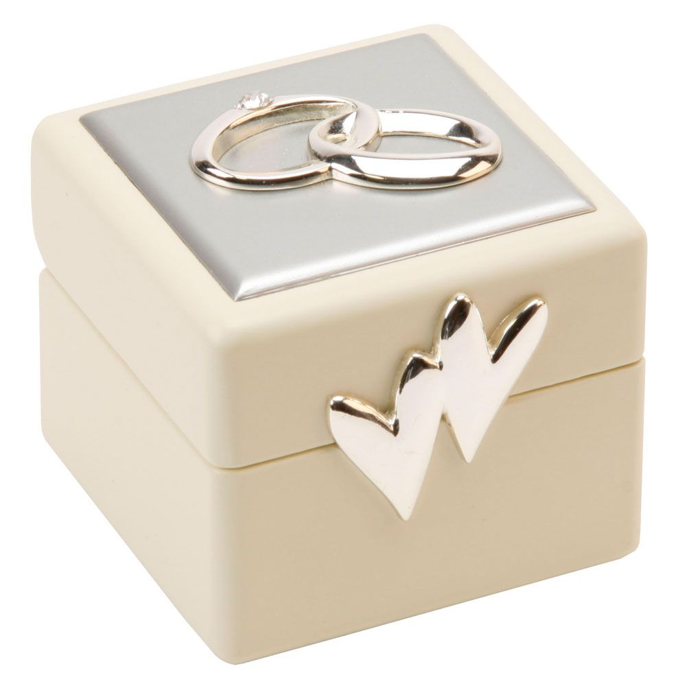 Beautiful Amore Double Wedding Ring Box Holder Cushion Two Hearts