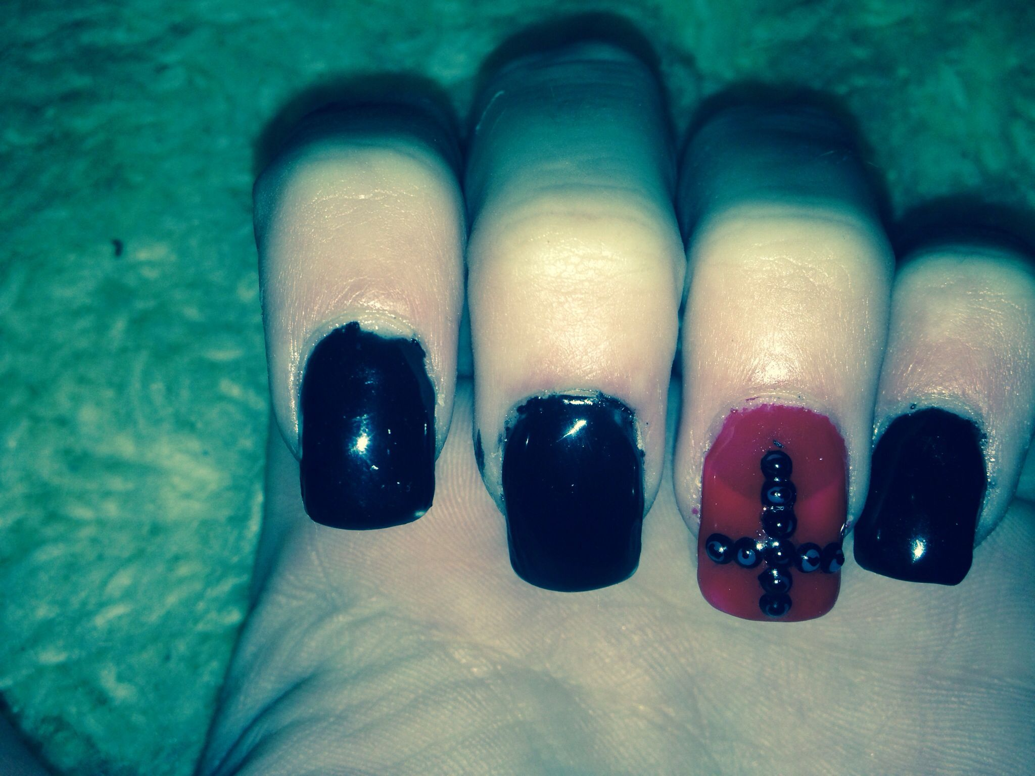 Nails - Black - Red - Cross