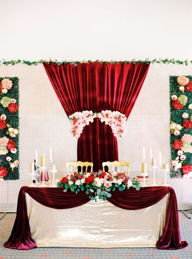 Burgundy gold wedding aisle red and gold wedding for Burgundy wedding reception decorations