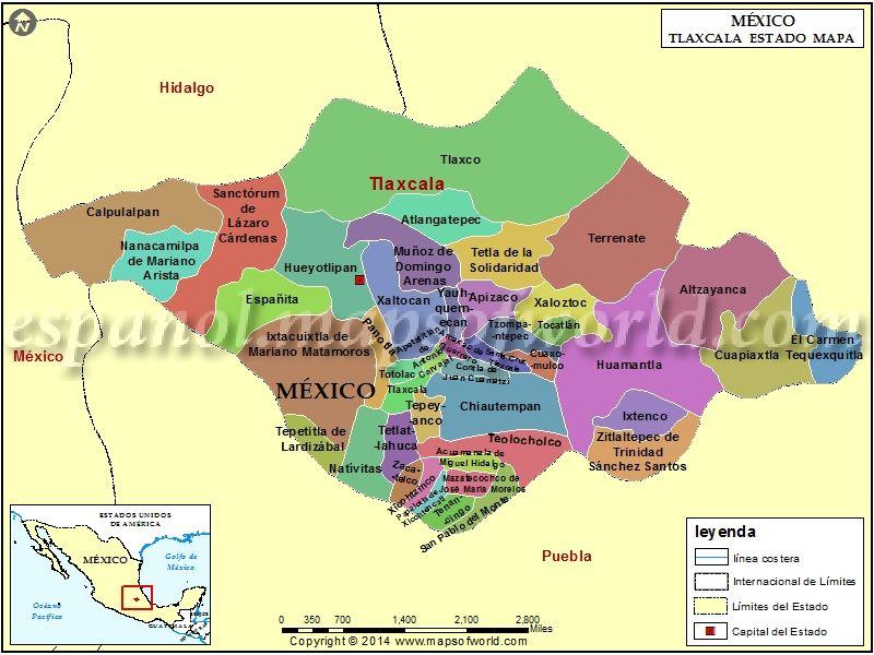 Mapa De Tlaxcala Mapa De Tlaxcala Mapas Y Tlaxcala Mexico