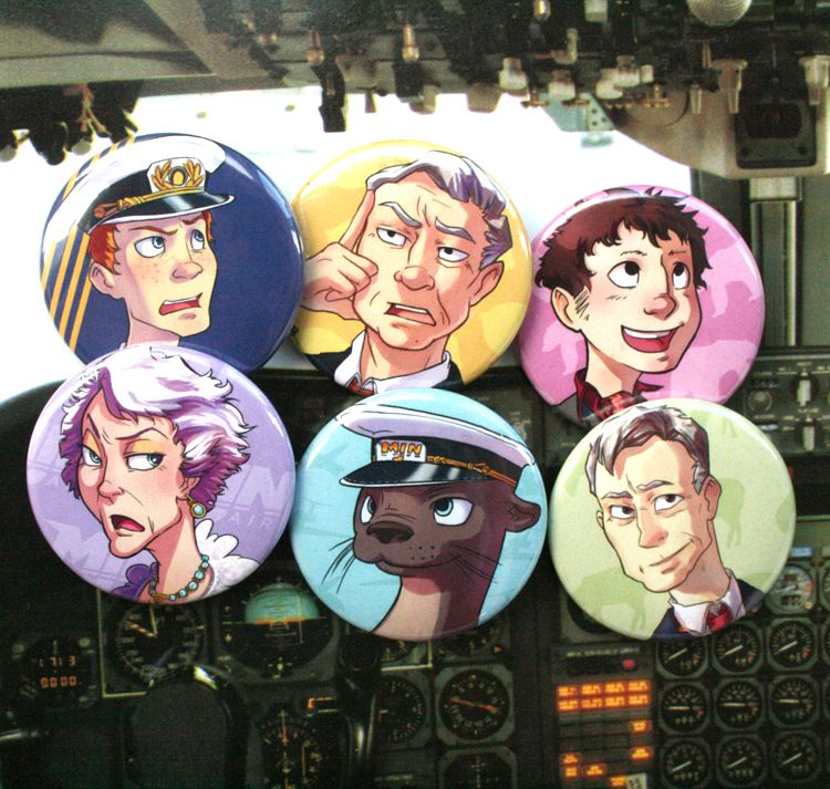 Cabin Pressure Badge Set (With Quotes)