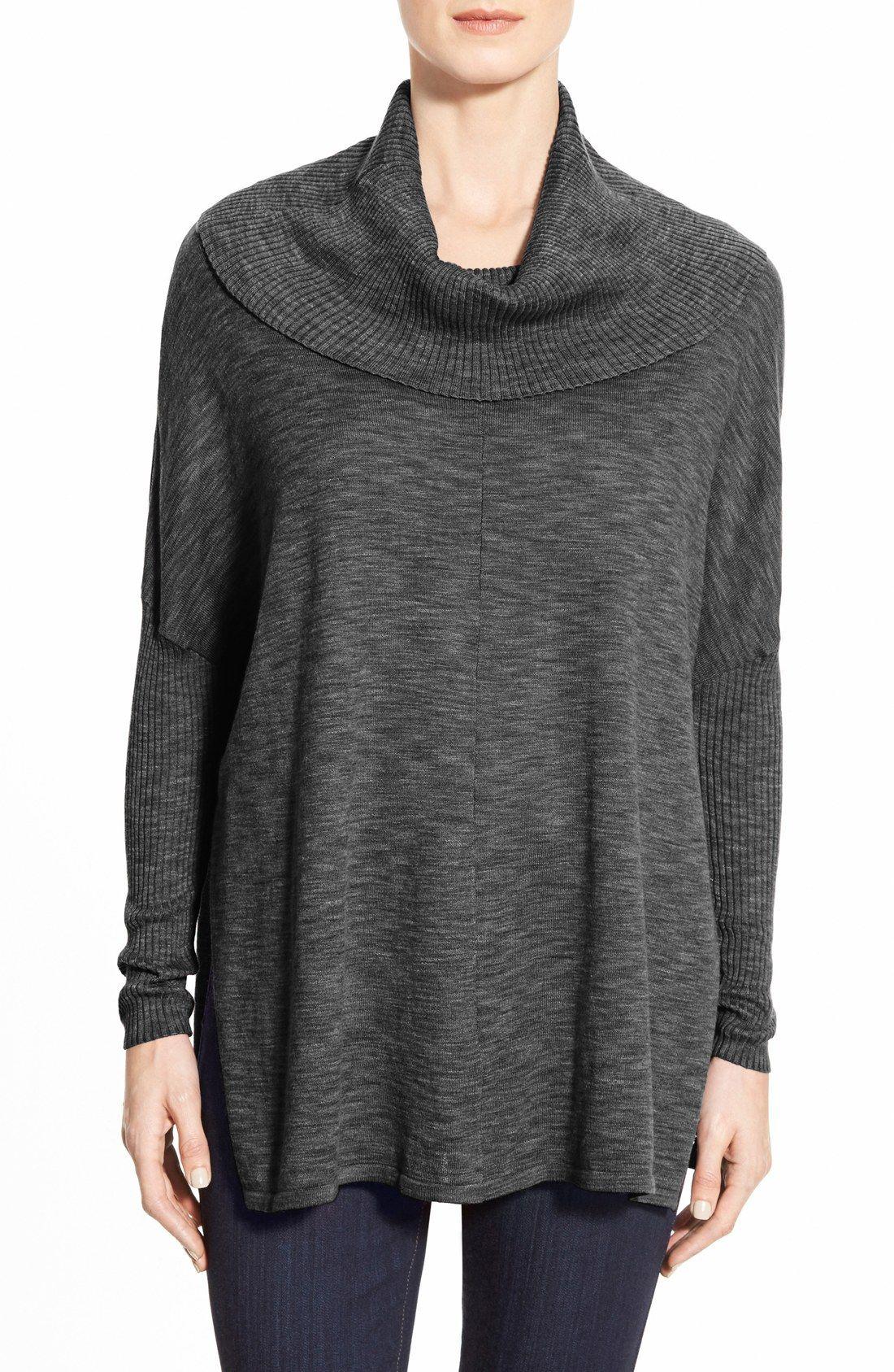 Fever Space Dye Cowl Neck Dolman Sleeve Tunic. Cotton Modal Blend ...