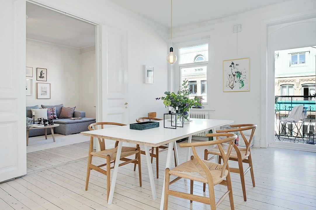 Bright dining room minimalist styled with the