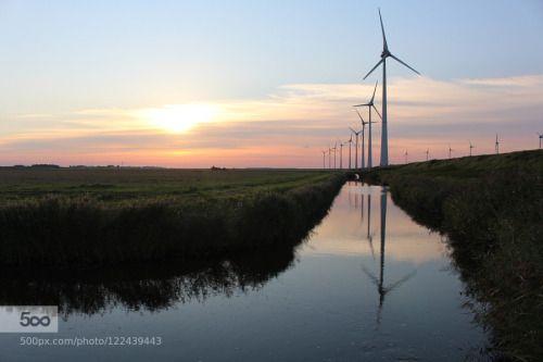 Sommerabend in Holland 3. by dirkwiemann  Eemshaven Holland Provinz Groningen Reflexion Sonnenuntergang Spätsommer dirkwiemann