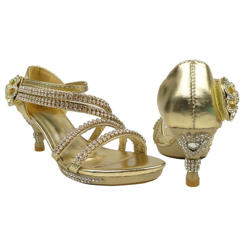 Kids Dress Sandals Asymmetrical Rhinestones Heart High