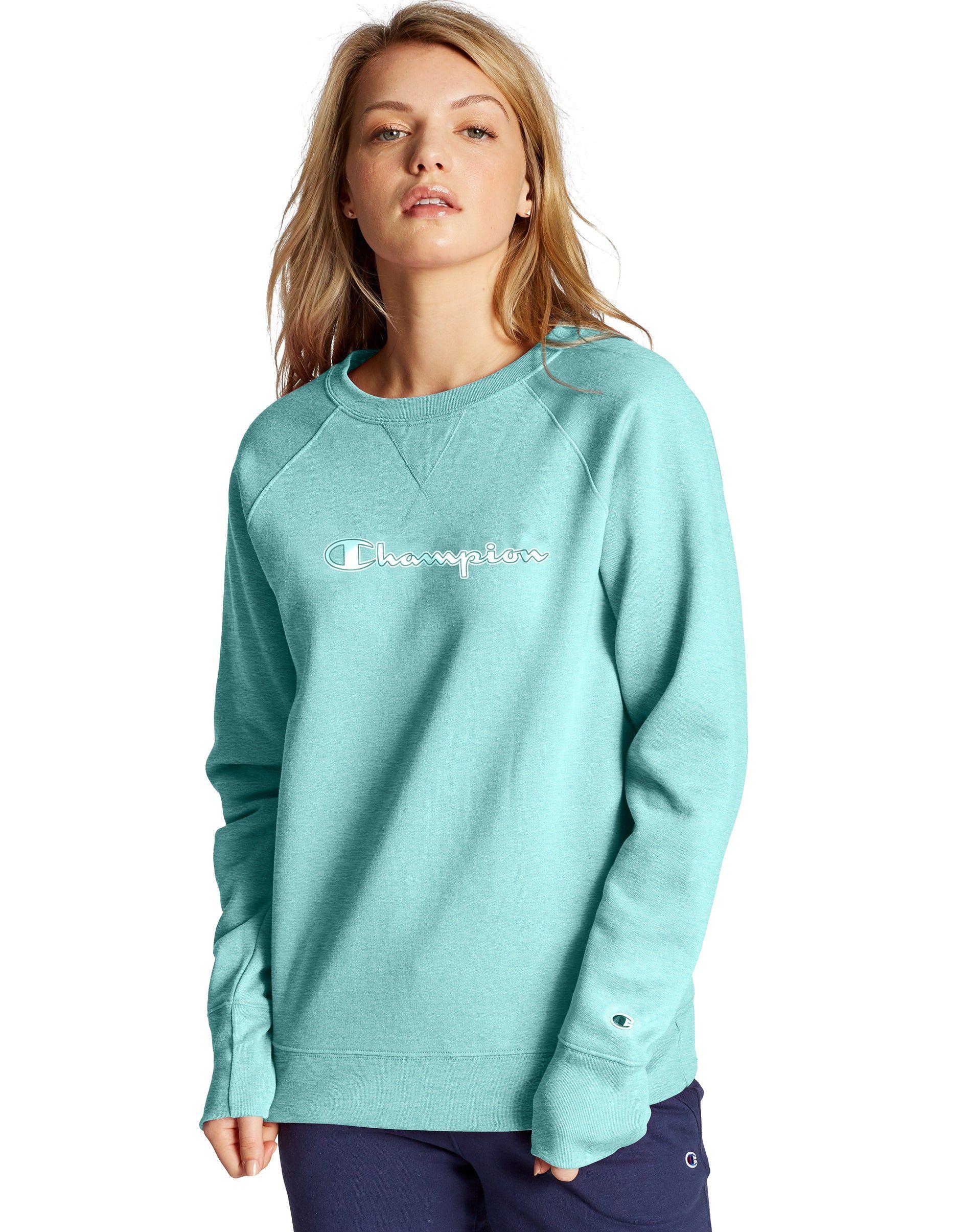 Champion Women S Athletics Powerblend Fleece Crew Chainstitch Logo Amazing Aqua S 25 00 Was 50 00 Women Champion Hoodie Fashion [ 2410 x 1900 Pixel ]