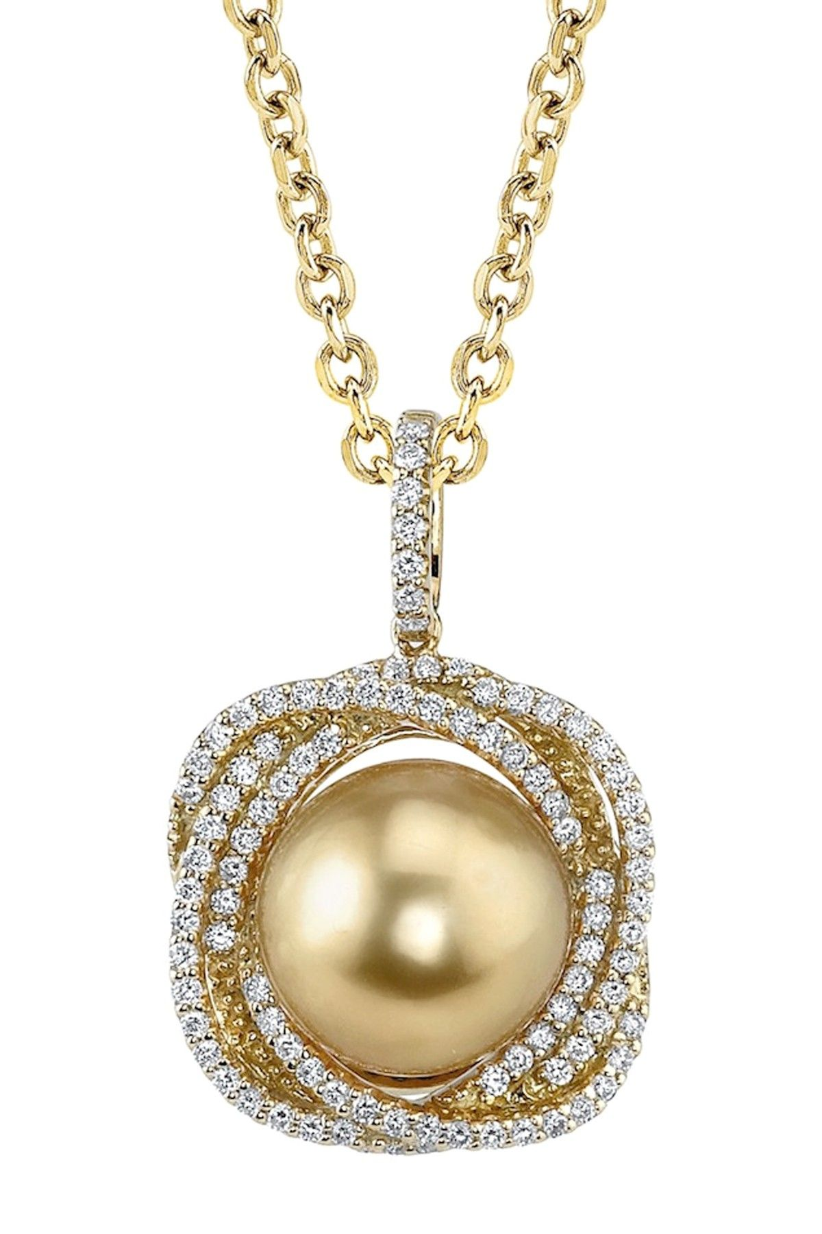 88b8f848995f Mikimoto Radiance Pearl-14K Yellow Gold 11mm Golden South Sea Pearl    Diamond Braided Pendant Necklace