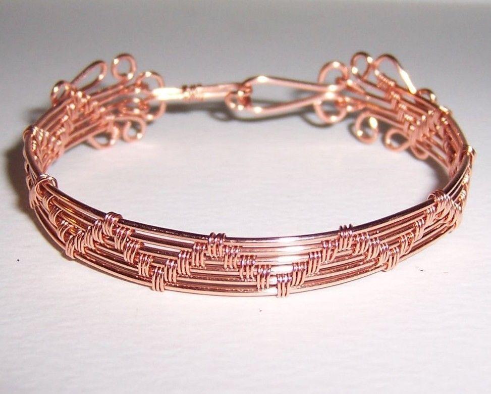Pure Copper Wire Woven Cuff/Bangle Bracelet #Handmade #Cuff   Wire ...