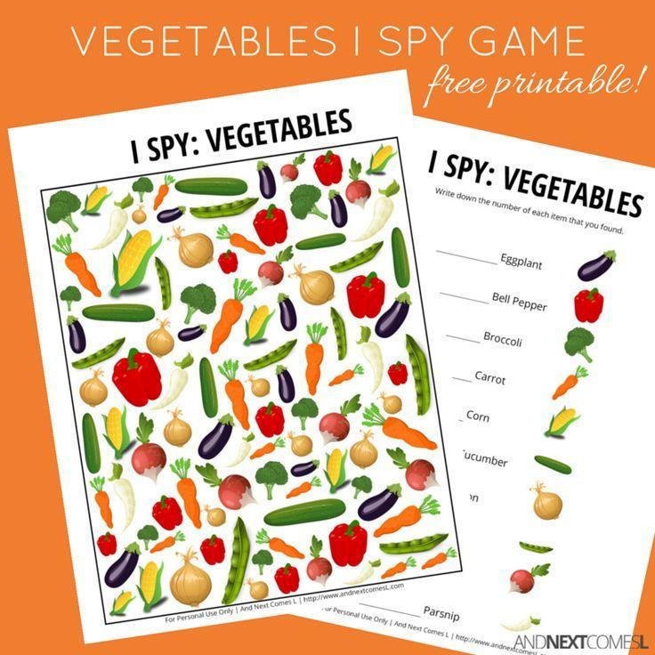 Vegetables Themed I Spy Game {Free Printable for Kids ...
