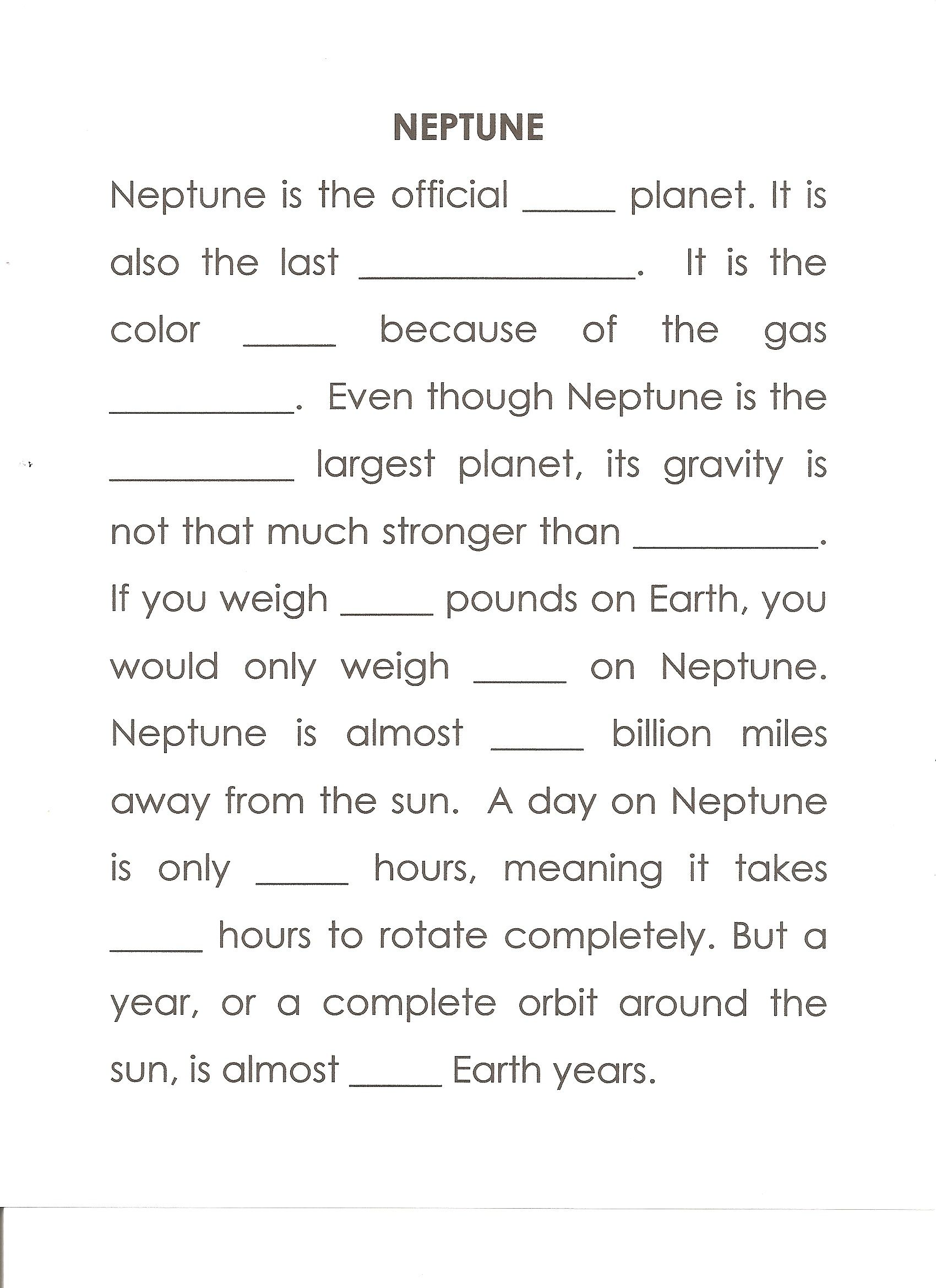 Neptune Worksheet Answers Last Gas Giant Blue Methane
