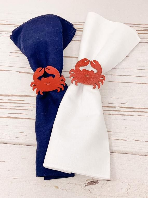 Crab Napkin Rings | Coastal Napkin Rings | Nautical Napkin Ring | Beach Wedding | Summer Napkin Ring | Beach Napkins Ring | Free Shipping #napkinrings