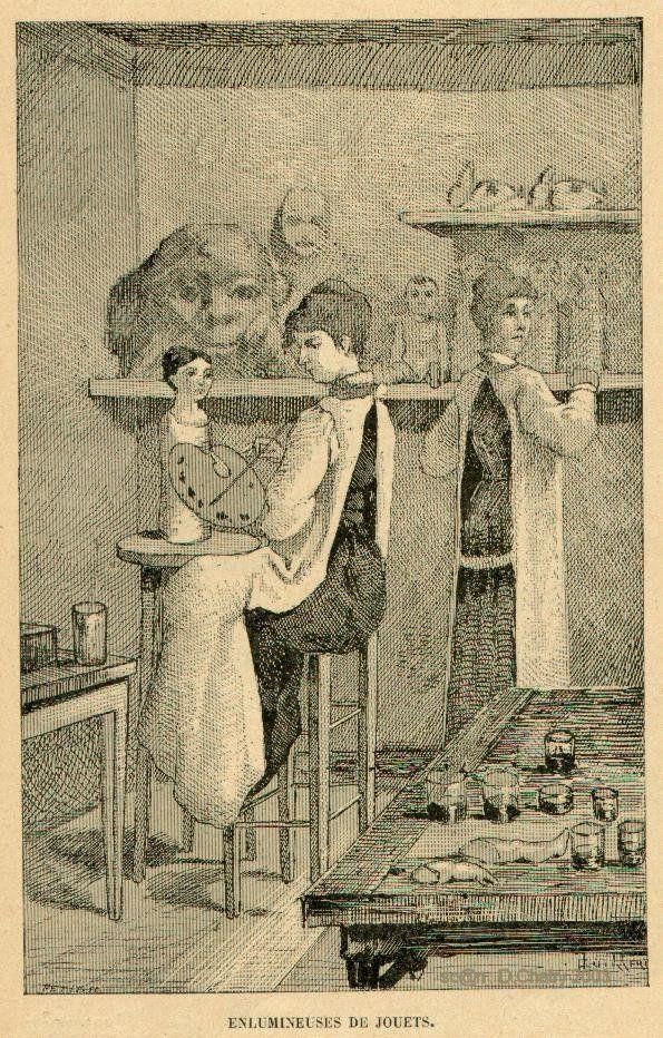 enlumineur de jouets ouvrier peignant les jouets et en particulier les poup es pour leur. Black Bedroom Furniture Sets. Home Design Ideas