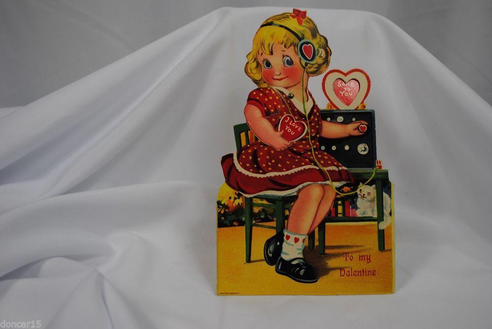 vtg valentine card German standup cardboard mechanical Girl phone operator cat