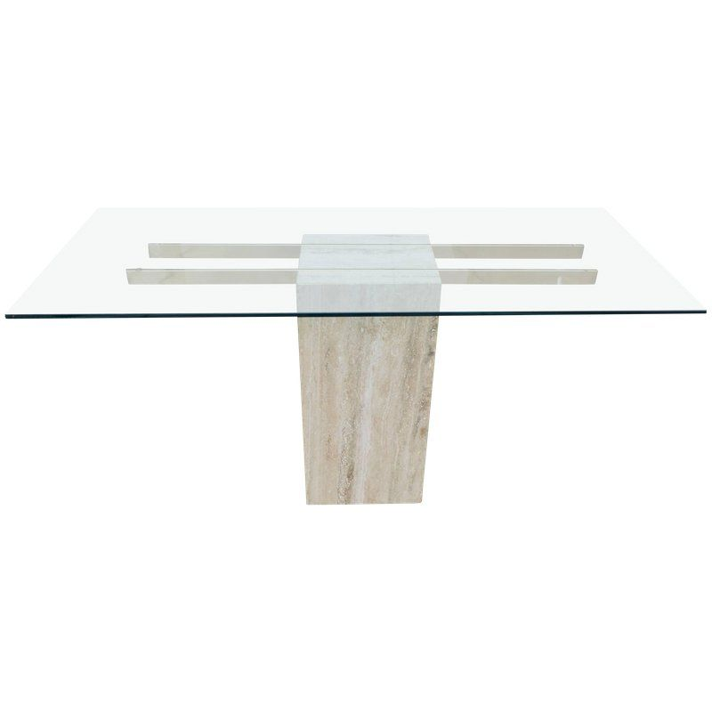 Travertine And Glass Pedestal Console Table Console Table