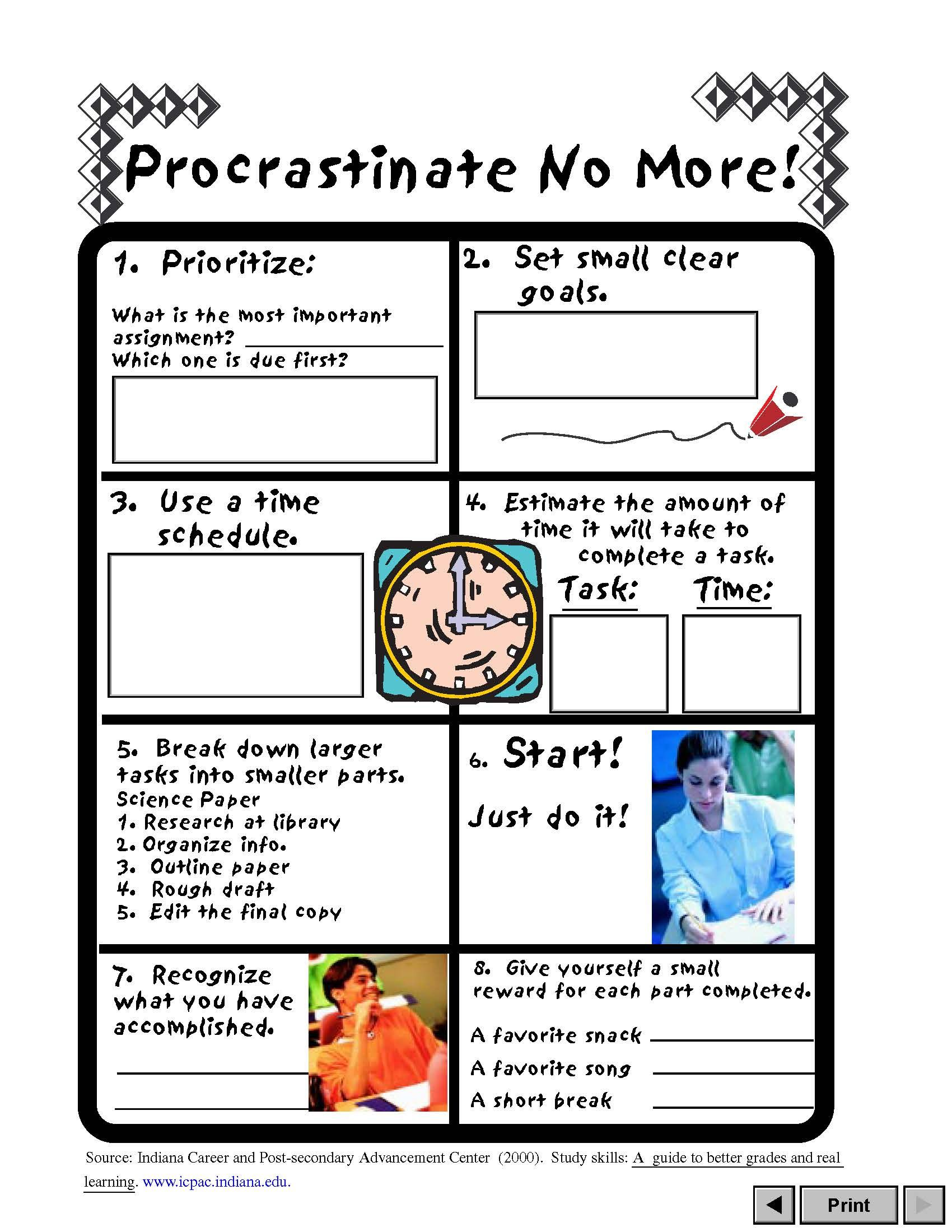 Procrastinate No More Va Career View A Worksheet To Help Prioritize Schedule Start