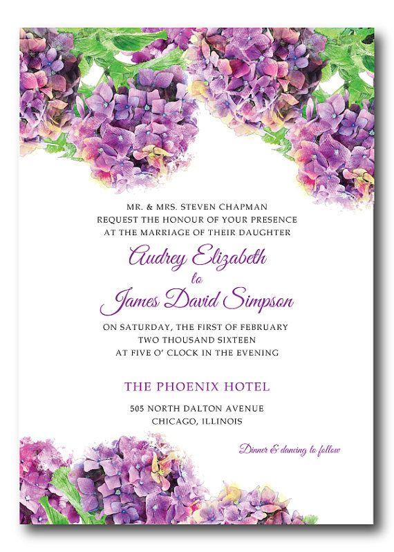 purple wedding invitation hydrangea wedding invitation printable