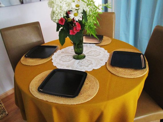 Vintage Mustard Yellow Round Tablecloth By VintageTins On Etsy, $34.00