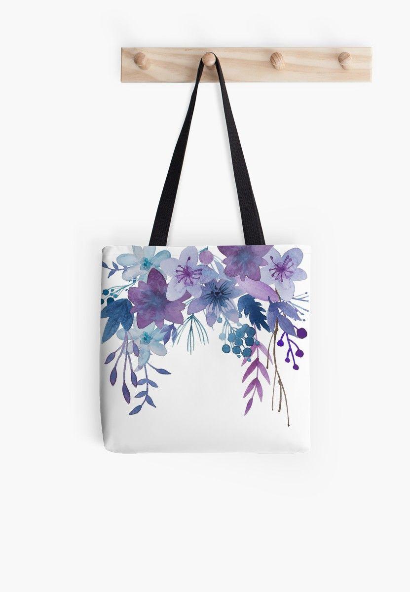 Blue Purple Flowers Tote Bag by junkydotcom
