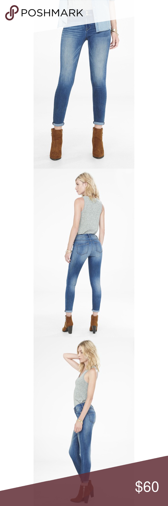 "Express mid rise cropped jeans 👖 Express mid rise cropped jeans features a double button fly and cuffed ankles. Inseam 29"". True to size. Express Jeans Ankle & Cropped"