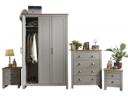 Best Lancaster Grey 4 Piece Bedroom Set 3 Door Wardrobe 400 x 300