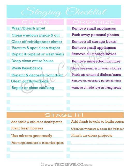 Home Staging checklist (or just thoroughly sprucing up your house)