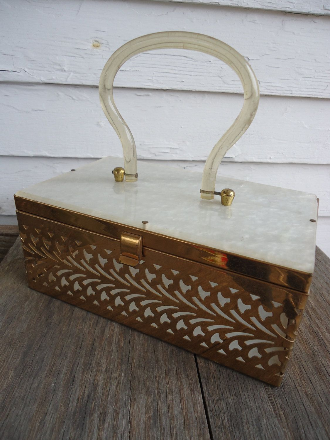 Mid-Century Lucite and Brass Purse by Catsandclover on Etsy