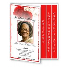 red rose funeral program template 4 page graduated fold 4 page