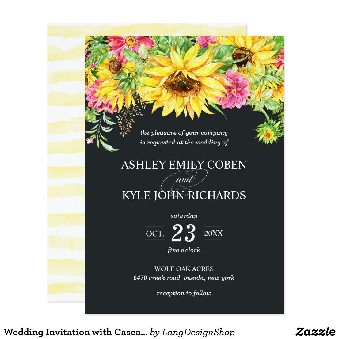 Wedding Invitation with Cascading Sunflowers - Einladungskarte Sonnenblume