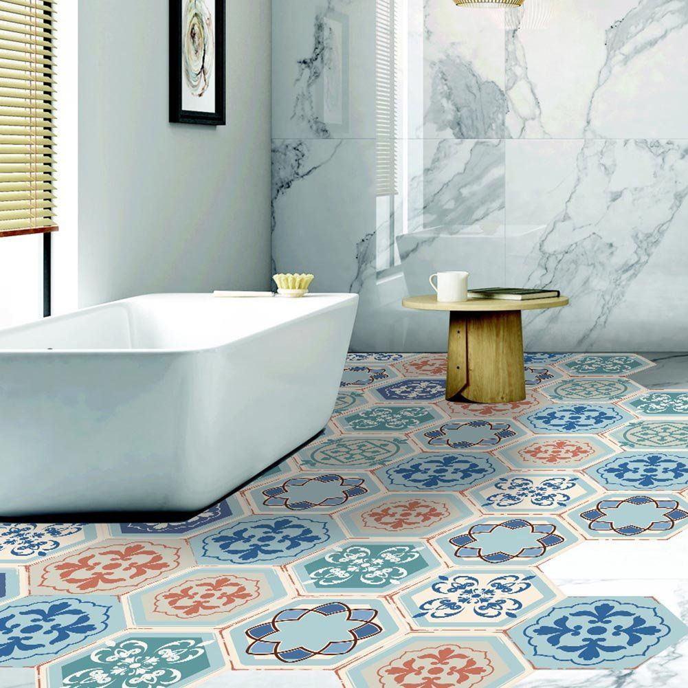 Buy Fancyku Antislip Removable 3d Floor And Wall Pvc Sticker For Bathroom And Kitchen Pattern 09 10 Pieces Online At Low Diy Tile Floor Decal Floor Stickers