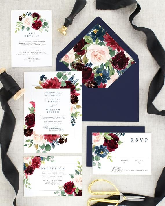 Printed Floral Wedding Invitation Set | Fall Wedding Invites | Burgundy Wedding Suite | Navy Blue | Marsala | Eucalyptus | Elegant #fallweddingideas