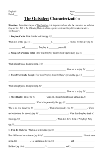 Worksheets The Outsiders Worksheets the outsiders characerization worksheet a fill in literature