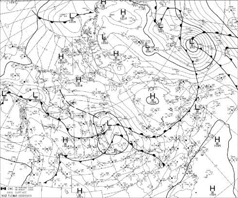 Example of a surface weather analysis map source environment