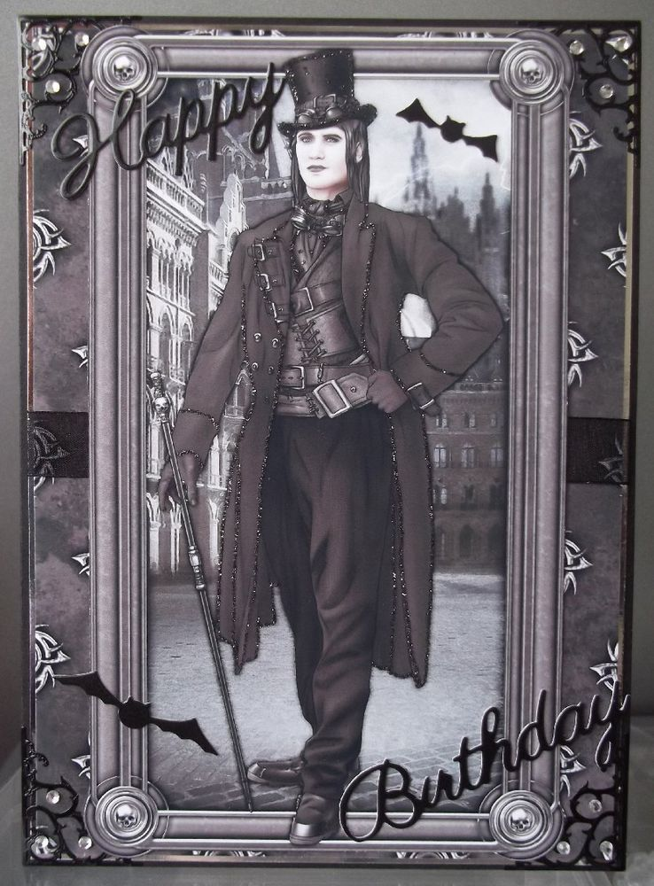 Handmade Gothic Harajuku Fashion W H Naoto Spiderweb Bag: Handmade Gothic Steampunk Pagan Men's Birthday Card