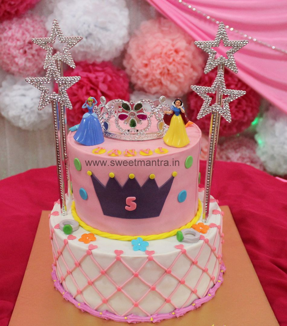 Homemade Eggless 3DCustom 2 tier Disney Princess theme 5th birthday