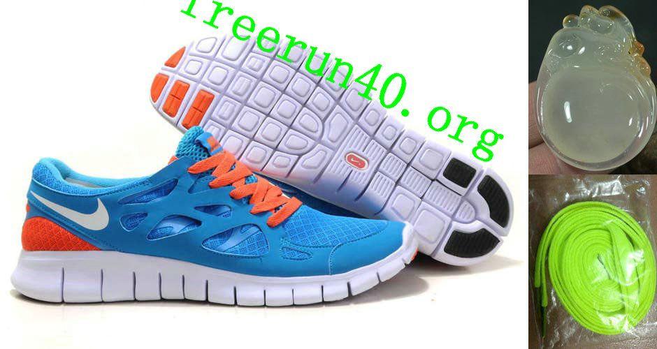 Fashion Nike Free Run+ 2 Womens Running Shoe Blue Orange White