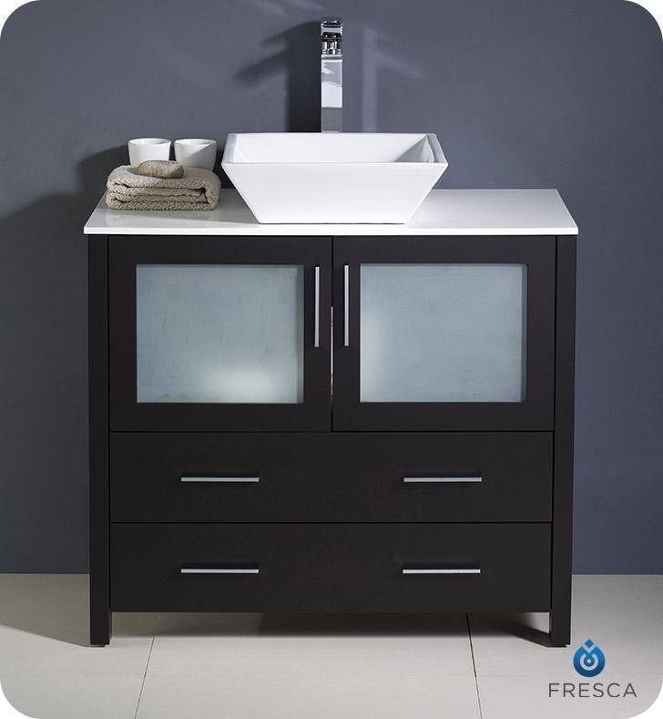 Photo of Fresca Torino 36 Espresso Modern Bathroom Cabinet w/ Vessel Sink – Default Title
