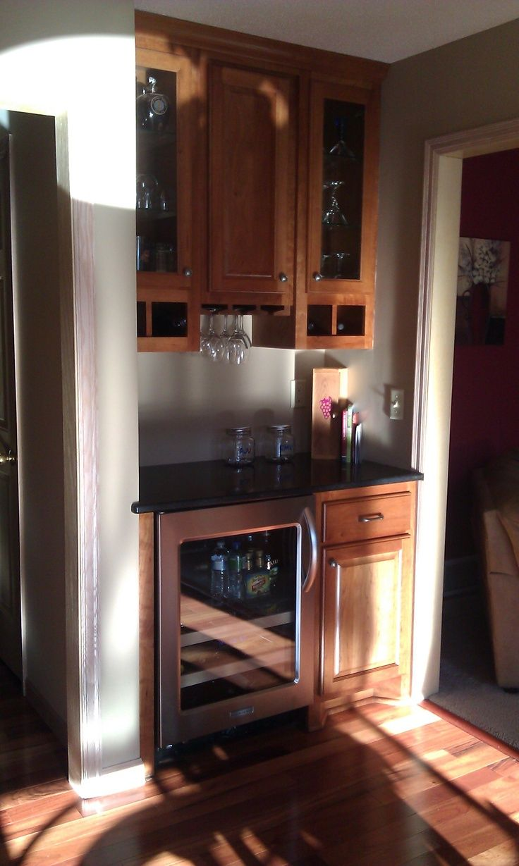 add to rec room small dry bar with wine cooler rack for stemware in cupboards - Built In Wine Fridge