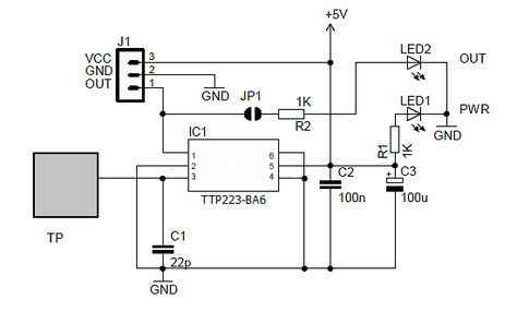 Ttp223 Capacitive Touch Switch Circuit Fikirler