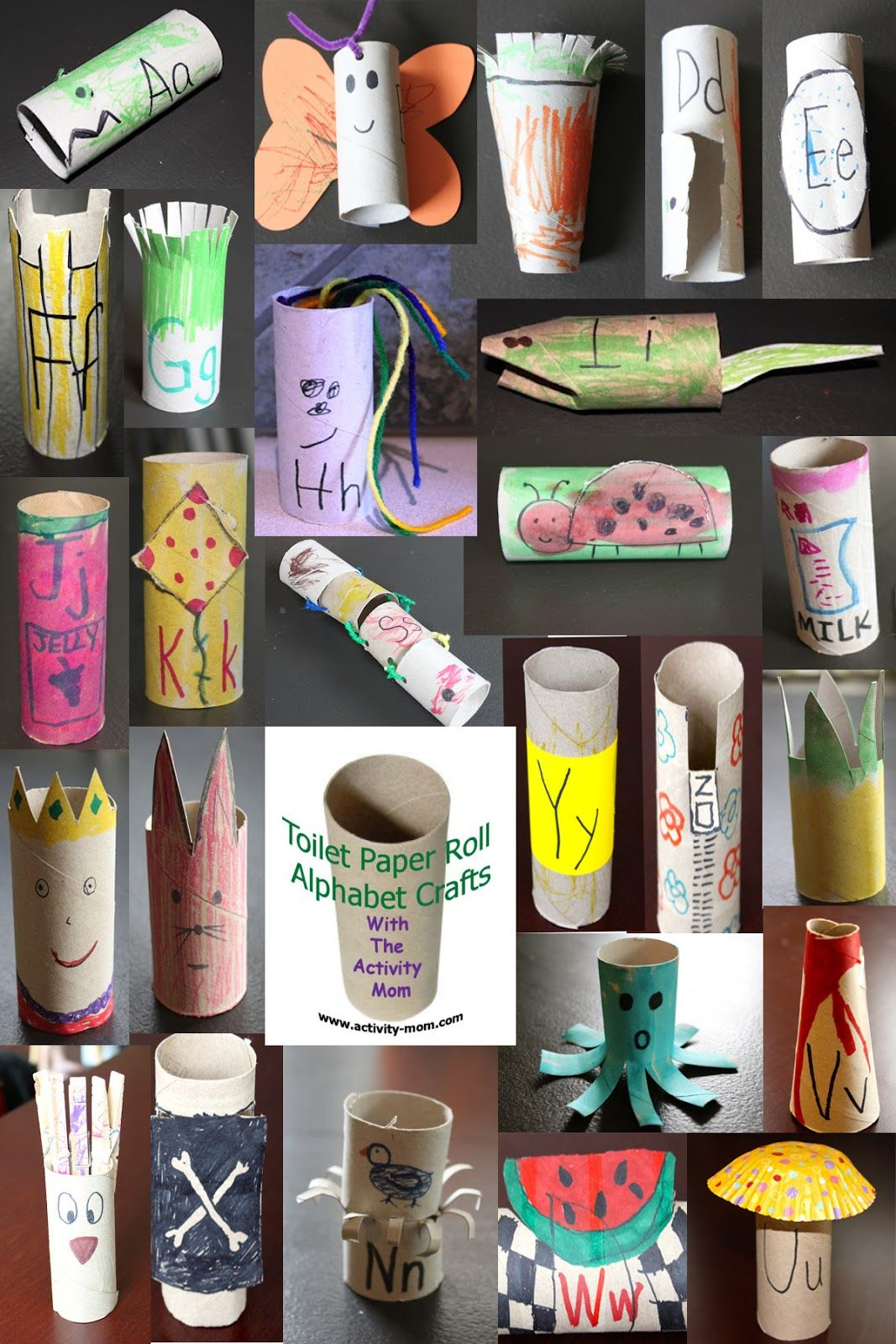 Toilet Paper Tube Alphabet Crafts A Z Alphabet Crafts Toilet