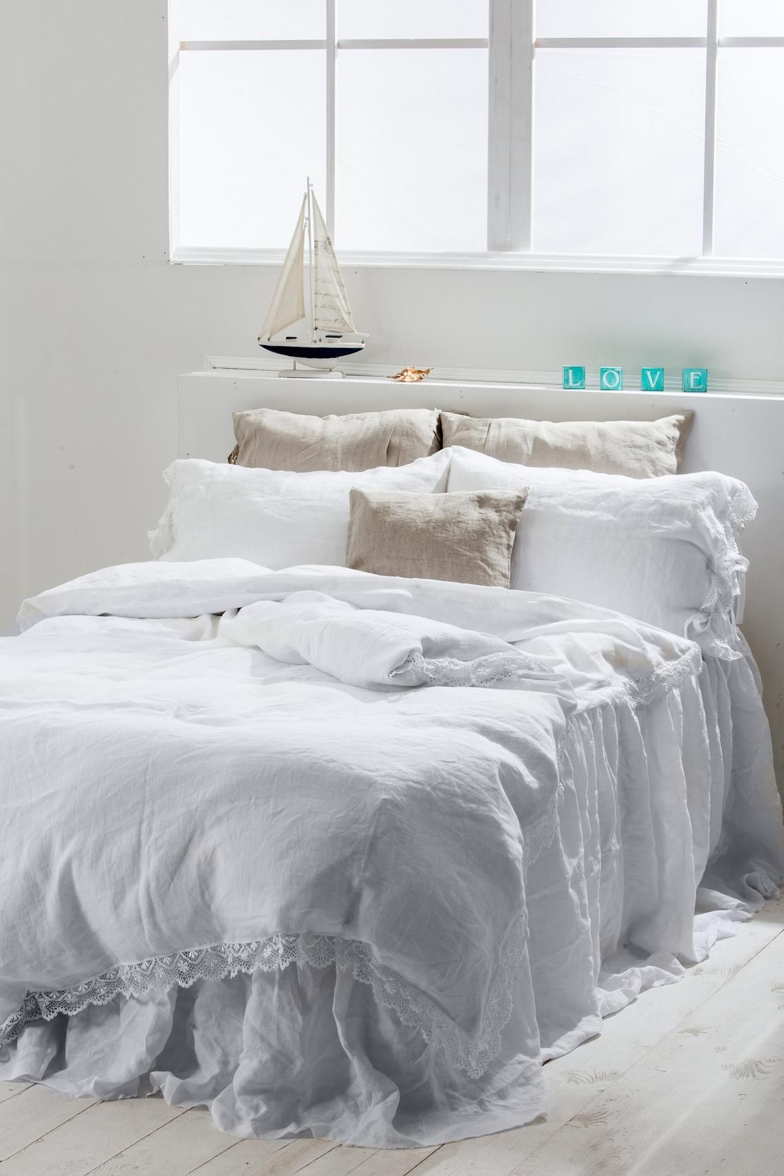 White Linen Duvet Cover With Lace Linen Duvet Cover Washed Linen