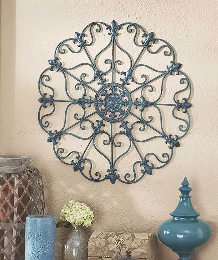Teal Blue Iron Wall Medallion Sculpture Art Porch Patio Living Room Home  Decor